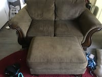 Brown fabric two person couch with ottoman  Chandler, 85225