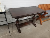Dark Wood Library Table / Console Table w/ Butterfly Leaf