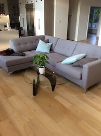 Gray fabric sofa set with throw pillows Oakville, L6L 3Y3