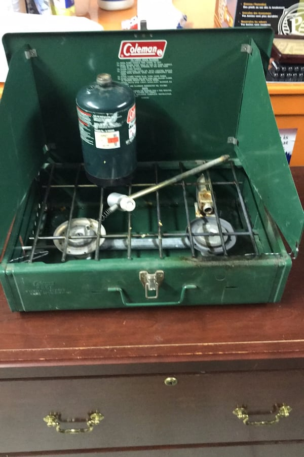 Vintage 1977 Coleman 2 burner Stove. Works great. Converted to propane d97a09a5-1585-4fbe-a83c-4cfa96584e29