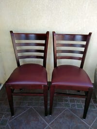 Pair of Cherry Colored Wooden Leather Chairs Gardena, 90247