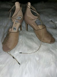 pair of tan leather open toe ankle strap heels Hampton, 23666