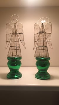 Two Green Glass Candle Holders Cornelius, 28031