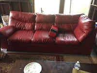 red leather 3-seat sofa