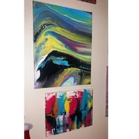 Two Blue, red, and green abstract paintings Granite City, 62040