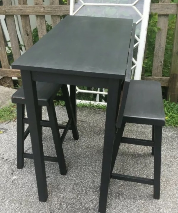 Excellent Refab Black Counter Height Pub Table With 2 Stools Chairs Breakfast Nook Freshly Painted And Waxed Lightly Distressed One Fold Up Leaf As Shown 36H Machost Co Dining Chair Design Ideas Machostcouk