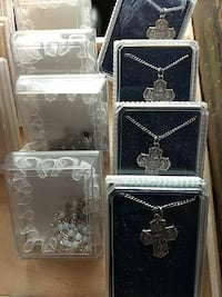 three silver-colored cross pendant necklaces Southington, 06479