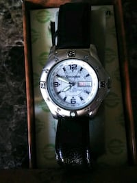 round silver-colored analog watch with black leather strap Boise, 83704
