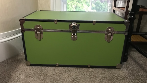 green and black wooden chest box