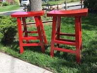Wooden Red Lacquered Kitchen Stools Toronto, M9C