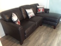 Black leather 3-seat sofa with chaise Innisfil