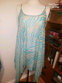 teal and white chevron spaghetti strap dress Red Deer, T4N 2L4