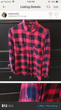 Red and blue flannel with button up 3/4 sleeve