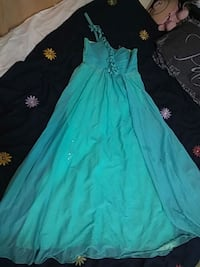 One sided strap teal debut/prom long dress Toronto, M3L 2L7