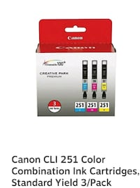CANON CLI 251 INK CARTRIDGES 3-PACK Suffolk County