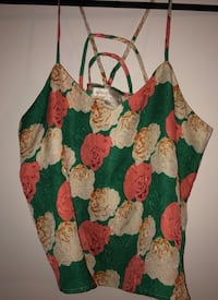 Green and pink floral spaghetti strap top College Station