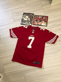 Kaepernick youth large Jersey and 2 framed memorabilia photo's