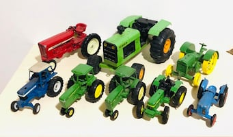 Huge Farm Machines! Die cast Pressed Metal Farm Tractors!