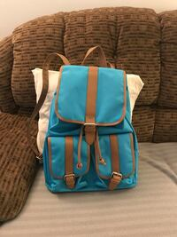 teal and brown bucket backpack