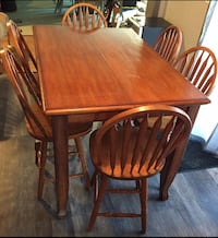 brown wooden dining table set Lakeshore