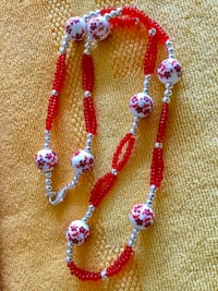 Beaded fashion necklace with glass beads and pretty large floral painted beads / Arts & Crafts New Alexandria, 22311