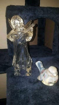 CRYSTAL FIGURINE & A FENTON HAND PAINTED  OPALESCE