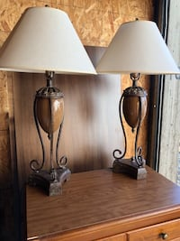 brown wooden base with white lampshade table lamp Springville, 84663