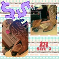 pair of brown leather cowboy boots collage Taylor, 36301