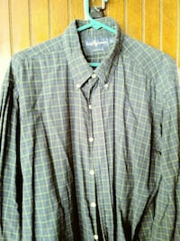 green and yellow grid button-up collared long-sleeved top