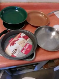 Skillets pots pans stainless steel colored