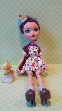 Monster high doll in white and pink mini dress
