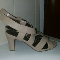 pair of brown leather open toe wedges Severn, 21144
