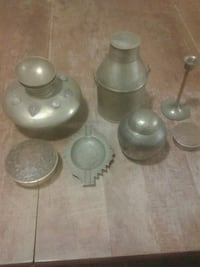 brass vase container and stand candle holder,old