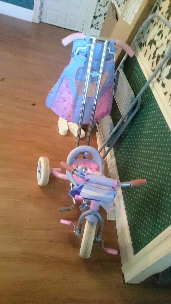 toddler's purple and pink push trike