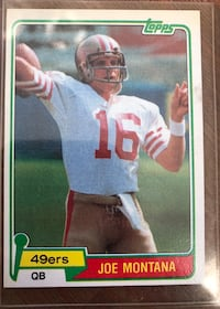 Joe Montana Rookie Card!!! Great Condition 1981 Topps Frederick, 21701