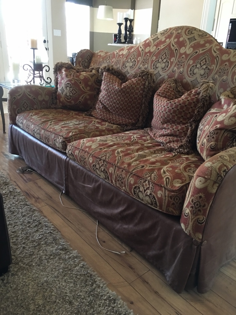 Exceptionnel Leather And Tapestry Sofa