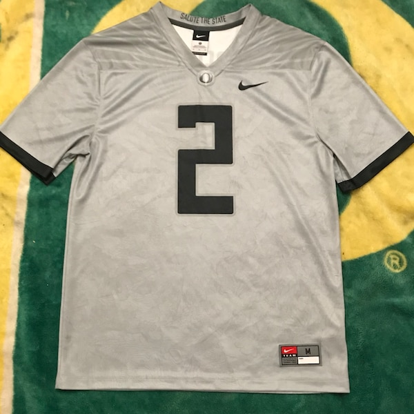 "info for 0c19d 028a3 Nike x Oregon Ducks - ""Salute The State"" Football Jersey (#2) - Grey/Black"