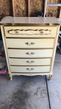 White and brown wooden 5-drawer tallboy dresser Colorado Springs, 80908