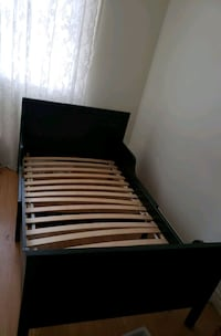 black and white wooden bed frame Toronto, M9M 2X3