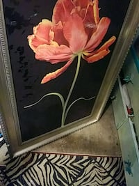 brown wooden framed painting of red flower Oklahoma City, 73107