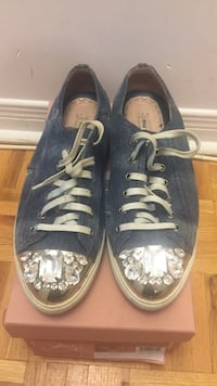 MIU MIU distressed denim gem toed sneakers