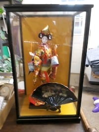 VINTAGE GEISHA DOLL WITH GLASS CASE 41 km