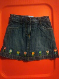 girl's blue denim a-line miniskirt