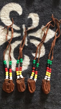 three green, yellow, and red beaded necklaces Orillia, L3V 2V4