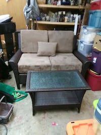 wicker loveseat and table and 2 chairs