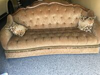 brown wooden framed beige padded couch Farmington Hills, 48335