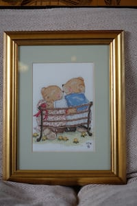 Framed, mounted & glazed embroidery of bears Glasgow