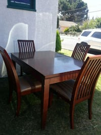 rectangular brown wooden table with six chairs dining set 2346 mi