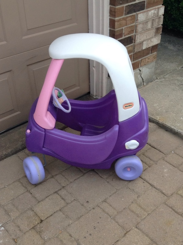 white, pink, and purple Little Tikes Cozy Coupe
