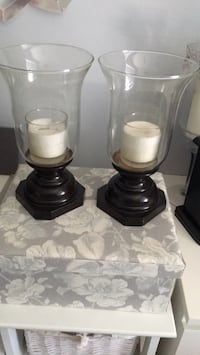 two black-and-white candle holders Surrey, V3S 7P2